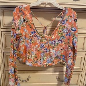 NEW Cotton Candy Floral Button Down Crop Top